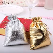 metallic gift bags fengrise 50pieces 7x9 cm 9x12 cm metallic foil cloth organza bags