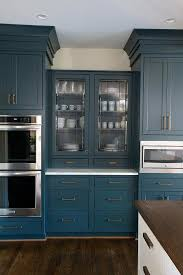 blue china cabinet with leaded glass doors contemporary kitchen