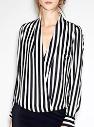 black and white blouses striped shirts for cheap price