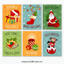 colorful pack of fun christmas cards vector free download