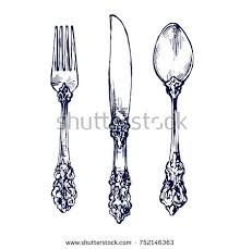 kitchen forks and knives tableware silverware vintage spoon fork knife stock vector