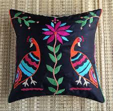 ans black tribal colourful bird thick thread embroidered cushion