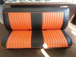 custom orange and black leather bench seat th street auto trim