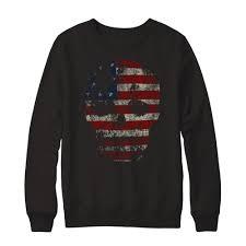 American Flag Skull Wittyprint Vintage American Flag Skull Crewneck Sweatshirt