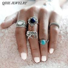 midi ring set qihe jewelry 5pcs set bohemian style elephant blue silver