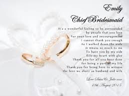 How To Ask Maid Of Honor Poem Personalised Maid Of Honour Chief Bridesmaid Thank You Poem