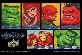 dejarnette designs upper deck avengers movie sketch cards by