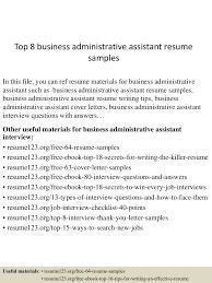 Best Resume Template For Administrative Assistant by Top8businessadministrativeassistantresumesamples 150529142819 Lva1 App6892 Thumbnail 4 Jpg Cb U003d1432909746