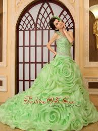 green quinceanera dresses rolling flowers one shoulder a line organza chapel