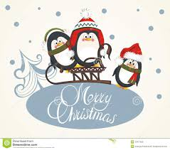merry card with penguins royalty free stock photo