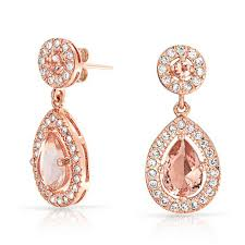 rose gold rings necklace images Rose gold plated morganite color cz teardrop dangle earrings jpg