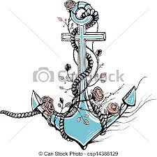 anchor with roses black ink vintage vector
