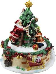 Santa Claus Christmas Tree Ornaments northlight animated santa claus and christmas tree winter scene