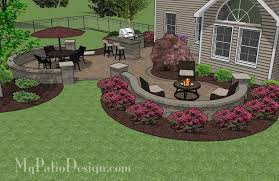 Paver Patio Designs With Fire Pit Large Paver Patio Design With Grill Station Bar Plan No