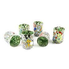 bicchieri verdi kaia sei bicchieri verdi e foglia argento soffiati di murano