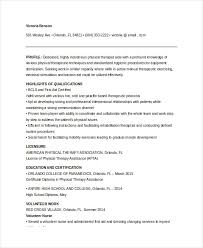 Sample Physical Therapist Assistant Resume by Physical Therapist Resume 5 Free Word Pdf Documents Download