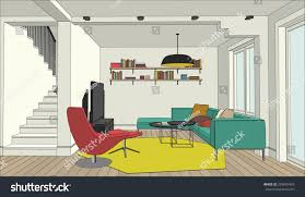 perspective view interior living room stock vector 293601455