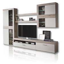 Wohnzimmerschrank Ohne Fernseher Wohnwand Kardigan Weiß Eiche Led Beleuchtung Wohnwände