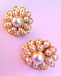 pachi earrings buy pearl white petals pachhi work stud earring traditional pachi