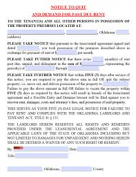 free oklahoma 5 day notice to pay or quit nonpayment of rent pdf
