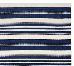 Stripe Indoor Outdoor Rug Oxford Stripe Recycled Yarn Indoor Outdoor Rug Blue Pottery Barn