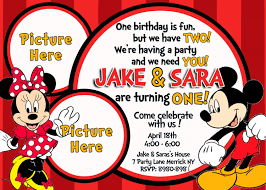 baby mickey invitations minnie mouse mickey mouse baby one twins first birthday party