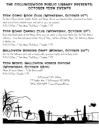 halloween horror nights phone number teens collingswood public library