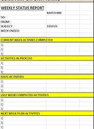 weekly status report template excel weekly status report template excel word templates