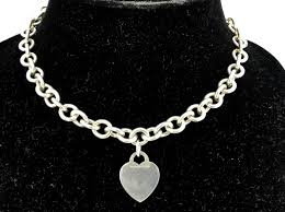sterling silver necklace tiffany images Tiffany co sterling silver heart tag necklace 16 quot queen may jpg