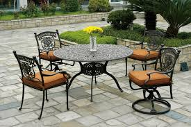 patio metal outdoor patio furniture with brick floor installed
