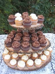 rustic wedding cupcakes rustic wedding cupcake stand log slices 3 tier