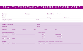 new beauty treatment consultation client record cards hair
