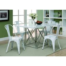 48 Dining Table by White Glossy Chrome Metal 36