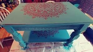 Painted Coffee Table Stencil A Boho Chic Table Using A Mandala Pattern Stencil