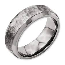 beveled ring titanium 8mm beveled edge hammered and polished men s wedding