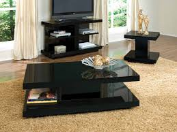 Living Room Furniture Black Living Room Modern Coffee Table With Dark Purple Accentuates And