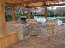 easy ways to covered outdoor kitchen pictures with round counter