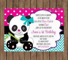 panda bear birthday invitation boy or any color or age