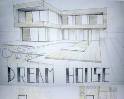 Floor Plan And Perspective Modern House Drawing Paper Size A1 Technique Graphite Pencil And