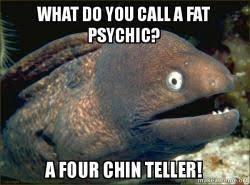 Psychic Meme - what do you call a fat psychic a four chin teller bad joke eel