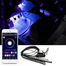 app controlled car lights 12 led bluetooth phone control car strip light flexible atmosphere
