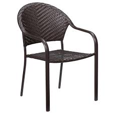 Patio Stacking Chairs Furniture Bay Mix And Match Wicker Outdoor Dining Chair In Brown
