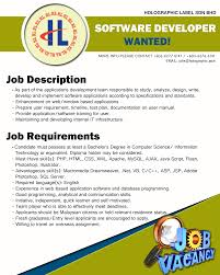 vacancy software developer holographic label sdn bhd
