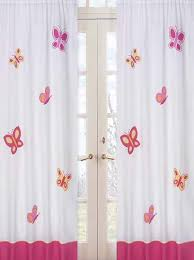 Pink And White Curtains Kids Butterfly Window Curtains Panels For Girls Set Of 2 Drapes