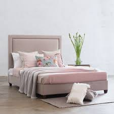 Studded Bed Frame Marle Bed With Studded Square Frame Linen Grey Linen