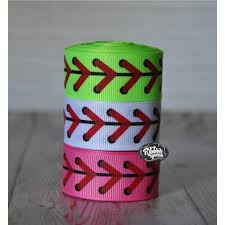 softball ribbon 5 yards 7 8 baseball softball laces print grosgrain ribbon