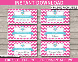 owl food labels place cards pink girls owl theme birthday party