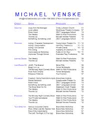 Resume For Theatre For Musical Theatre
