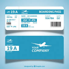 blue and white boarding pass template in flat design vector free