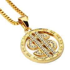 aliexpress buy nyuk mens 39 hip hop jewelry iced out nyuk dollar us money sign chain with rhinestone gold